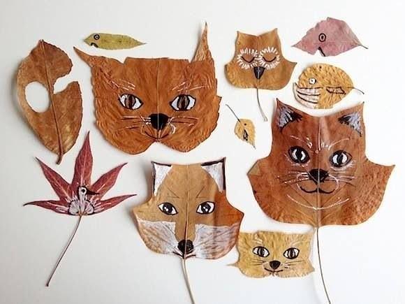 поделки из осенних листьев фото