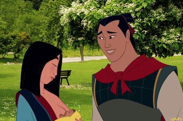 Диснеевские принцессы поддержали грудное вскармливание