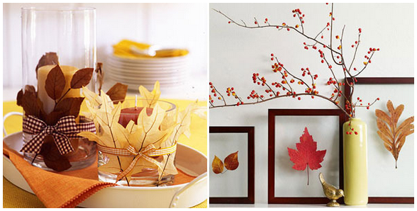 осенние листья в интерьере - фото
