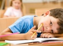 школьник устал