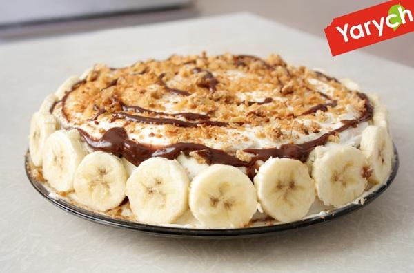 банановый торт из печенья